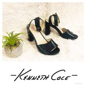 Kenneth Cole Black Leather Ankle Strapped Heels!